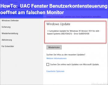 HowTo UAC Fenster Benutzerkontensteuerung öffnet am falschen Monitor