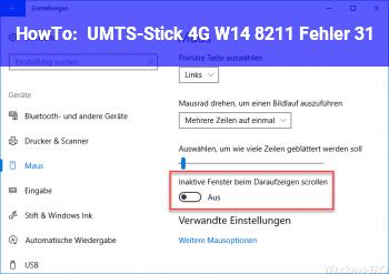 HowTo UMTS-Stick 4G W14 – Fehler 31