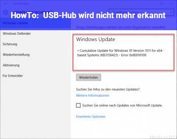 HowTo USB-Hub wird nicht mehr erkannt
