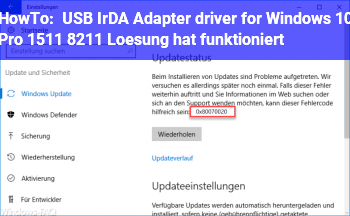 HowTo USB IrDA Adapter driver for Windows 10 Pro 1511 – Lösung hat funktioniert
