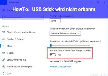 HowTo USB Stick wird nicht erkannt!
