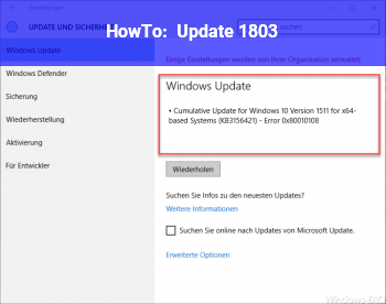 HowTo Update 1803