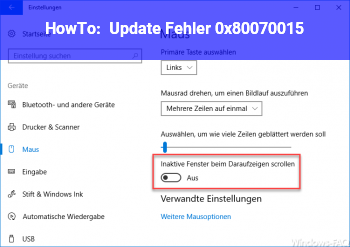 HowTo Update Fehler 0x80070015