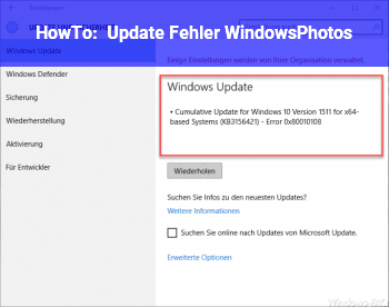 HowTo Update Fehler Windows.Photos
