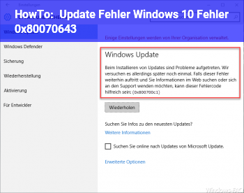 HowTo Update Fehler Windows 10 Fehler 0x80070643
