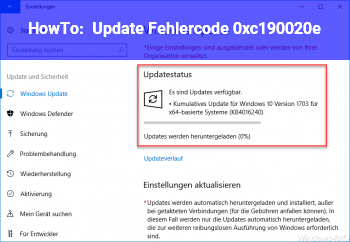 HowTo Update Fehlercode 0xc190020e