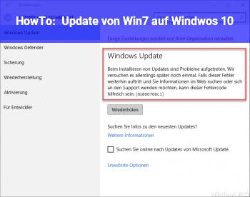 HowTo Update von Win7 auf Windwos 10