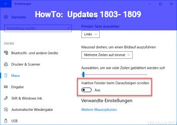 HowTo Updates 1803- 1809