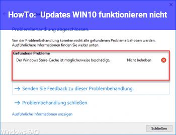 HowTo Updates WIN10 funktionieren nicht
