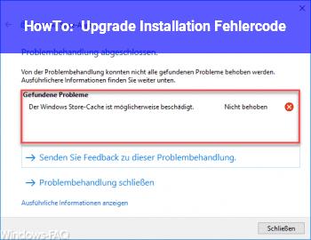 HowTo Upgrade Installation Fehlercode