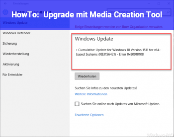HowTo Upgrade mit Media Creation Tool
