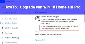 HowTo Upgrade von Win 10 Home auf Pro