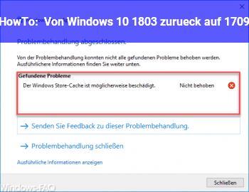HowTo Von Windows 10 1803 zurück auf 1709