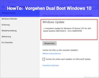 HowTo Vorgehen Dual Boot Windows 10