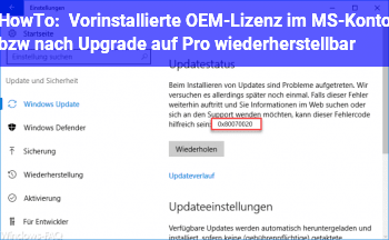 HowTo Vorinstallierte OEM-Lizenz im MS-Konto bzw. nach Upgrade auf Pro wiederherstellbar?