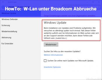HowTo W-Lan unter Broadcom Abbrüche