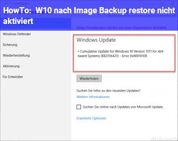 HowTo W10 nach Image Backup restore, nicht aktiviert.