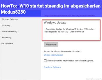 HowTo W10 startet ständig im abgesicherten Modus…