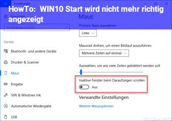 HowTo WIN10 Start wird nicht mehr richtig angezeigt