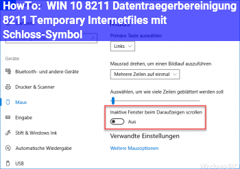 HowTo WIN 10 – Datenträgerbereinigung – Temporary Internetfiles mit Schloß-Symbol