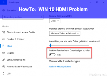 HowTo WIN 10 HDMI Problem