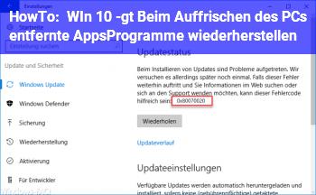 HowTo WIn 10 -> Beim Auffrischen des PCs entfernte Apps/Programme wiederherstellen