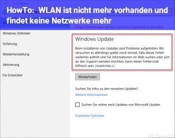 HowTo WLAN ist nicht mehr vorhanden und findet keine Netzwerke mehr