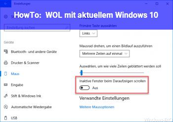 HowTo WOL mit aktuellem Windows 10