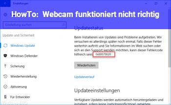 HowTo Webcam funktioniert nicht richtig