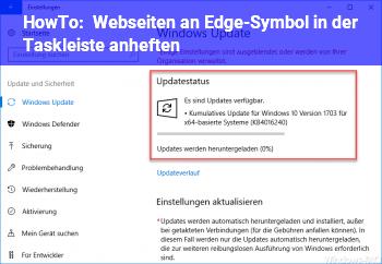 HowTo Webseiten an Edge-Symbol in der Taskleiste anheften