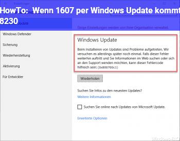 HowTo Wenn 1607 per Windows Update kommt …