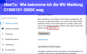 HowTo Wie bekomme ich die WU-Meldung C1900101-2000C weg?