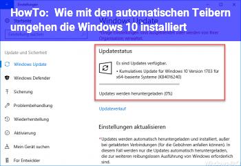 HowTo Wie mit den automatischen Teibern umgehen, die Windows 10 installiert?