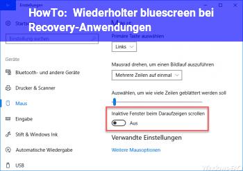 HowTo Wiederholter bluescreen bei Recovery-Anwendungen