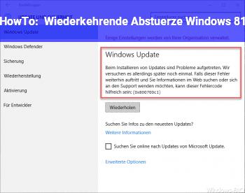 HowTo Wiederkehrende Abstürze Windows 8.1