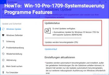 HowTo Win-10-Pro-1709-Systemsteuerung / Programme & Features