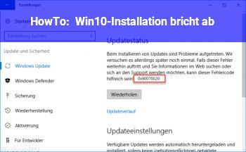 HowTo Win10-Installation bricht ab