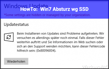 HowTo Win7 Absturz. wg. SSD?