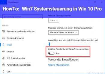 HowTo Win7 Systemsteuerung in Win 10 Pro