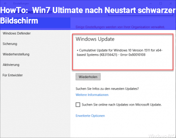 HowTo Win7 Ultimate nach Neustart schwarzer Bildschirm
