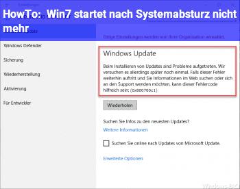 HowTo Win7 startet nach Systemabsturz nicht mehr