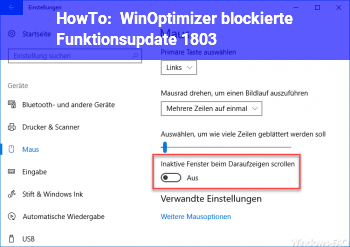 HowTo WinOptimizer blockierte Funktionsupdate 1803