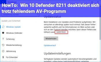 HowTo Win 10 Defender – deaktiviert sich trotz fehlendem AV-Programm