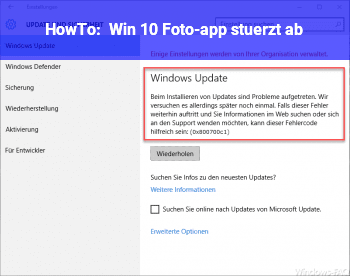 HowTo Win 10 Foto-app stürzt ab