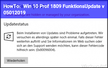 HowTo Win 10 Prof. (1809?) FunktionsUpdate v. 05.01.2019