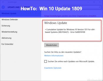 HowTo Win 10 Update 1809