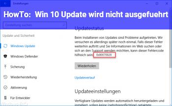 HowTo Win 10 Update wird nicht ausgeführt