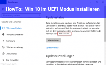 HowTo Win 10 im UEFI Modus installieren