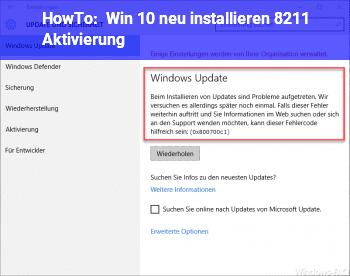 HowTo Win 10 neu installieren – Aktivierung?