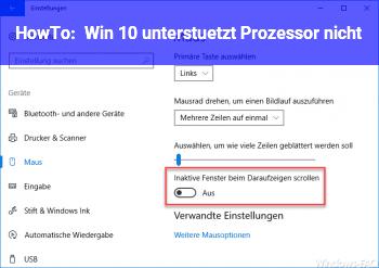 HowTo Win 10 unterstützt Prozessor nicht